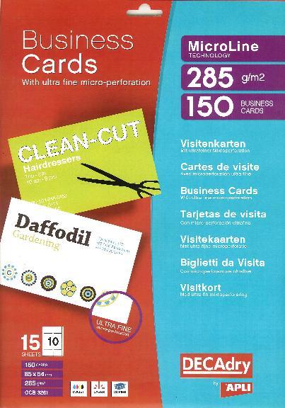 OCB3261 Multipurpose business cards MicroLine OCB3261 : Decadry ...