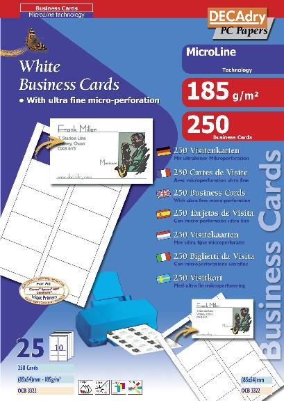 Ocb3322 multipurpose business cards microline ocb3322 decadry occ3349 microline technology reheart Gallery