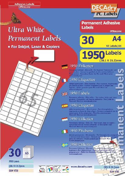 olw4730 multipurpose white labels olw4730   decadry